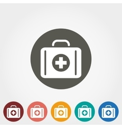Suitcase first aid icon vector