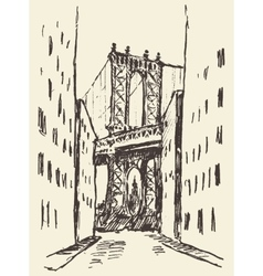 Manhattan bridge new york united states sketch vector