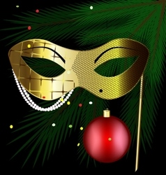 Golden festive mask vector