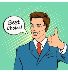Businessman gives thumb up in retro comics style vector
