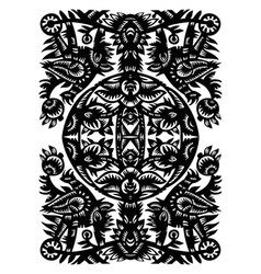 Decorative black pattern with animals and flowers vector