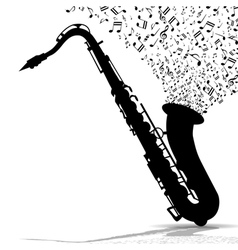 Silhouette of saxophone and music vector