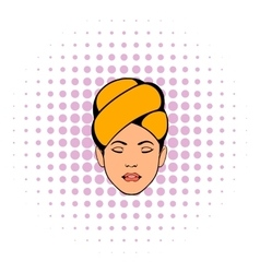 Woman with yellow towel on her head icon vector image