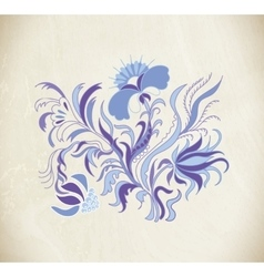 Blue art flowers vector image