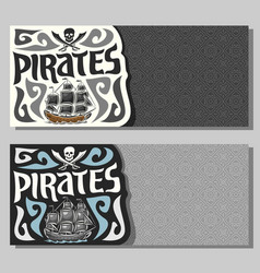 banners for pirate theme vector image vector image
