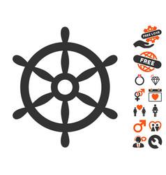 Boat steering wheel icon with love bonus vector