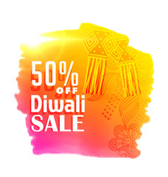 bright diwali sale poster design with hanging vector image