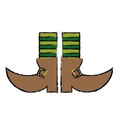 Cartoon boot leprachaun stripes socks st patrick vector