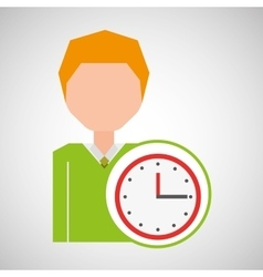 cartoon business man clock time icon vector image