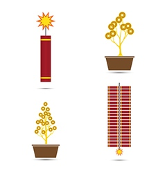Chinese new year fire crackers and coins tr vector