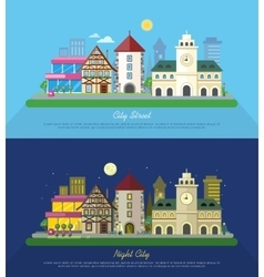 City street at day and night vector