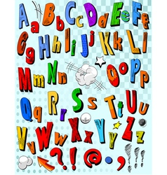 Comic book alphabet vector image vector image