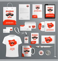 Corporate identity items japanese sushi vector