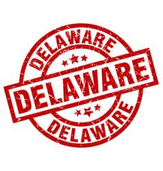 Delaware red round grunge stamp vector