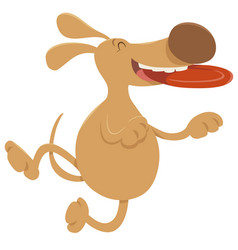 Dog with frisbee cartoon character vector