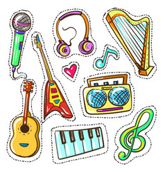 hand drawn color musical instruments set vector image vector image