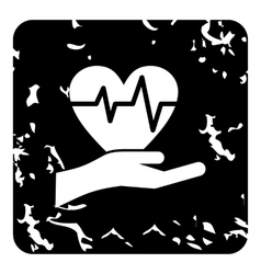 Hand holding heart icon grunge style vector