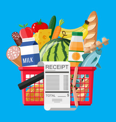 hhopping basket full of groceries and receipt vector image vector image