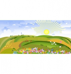 landscape with houses and sheep vector image vector image