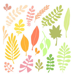 Leaves silhouette set autumn isolated decoration vector
