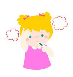 little girl got high temperature cartoon vector image vector image