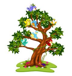Many birds cartoon on the trees vector