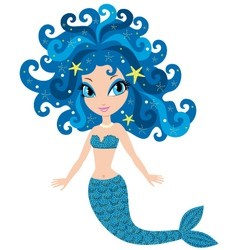 Mermaid cartoon vector image vector image