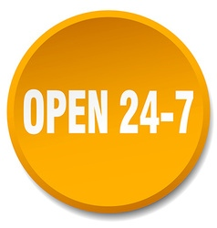 Open 24 7 orange round flat isolated push button vector