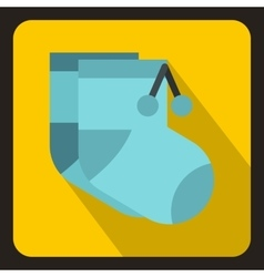 Pair of blue baby socks icon flat style vector image