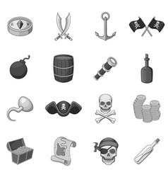 Pirate culture symbols icons set monochrome vector