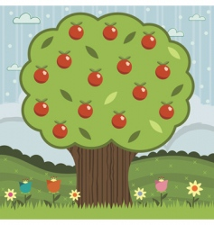 red apple tree vector image