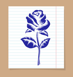 Rose on line notebook page vector