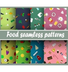 Seamless patterns with food vector image vector image