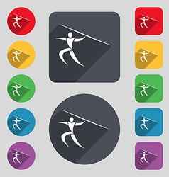 Summer sports javelin throw icon sign a set of 12 vector
