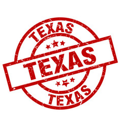 Texas red round grunge stamp vector