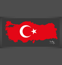 Turkey map with turkish national flag vector