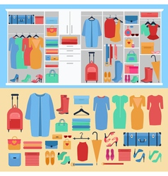 Wardrobe with Womens Clothing and Shoes vector image vector image