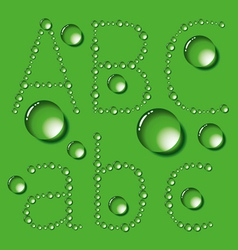 Water Drop Letters On Green New 01 vector image vector image