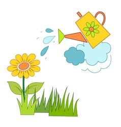 Watering a flower vector