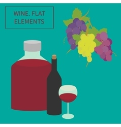 wine flat elements vector image