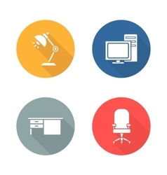 Workplace flat design icon set vector image vector image