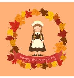 Circle autumn leaf thanksgiving braid girl vector