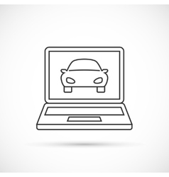 Car on the monitor outline icon vector