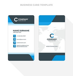 Vertical double-sided business card template blue vector