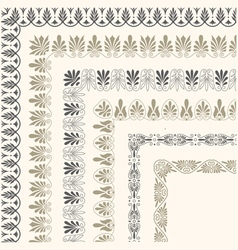 Decorative seamless ornamental border with corner vector