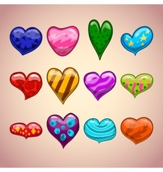 Set with cartoon hearts vector image