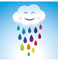 Cartoon cloud and rainbow drops vector