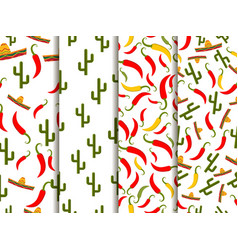 seamless pattern with sombrero pepper and cactus vector image