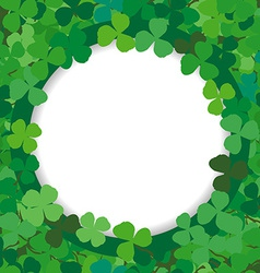 Background with a round frame of clovers vector image