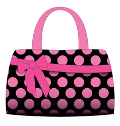 Black handbag in pink polka dots vector